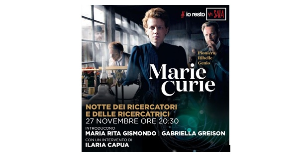 "AL TEATRO ARISTON LA PROIEZIONE IN STREAMING DEL FILM ""MARIE CURIE"""